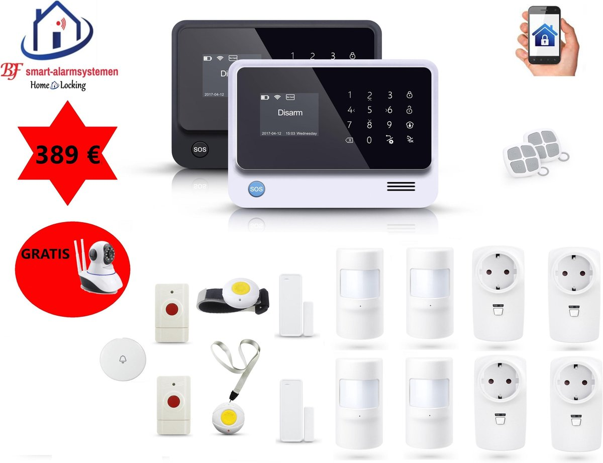 Home-Locking senioren draadloos smart alarmsysteem wifi,gprs,sms AC-05 set 2.