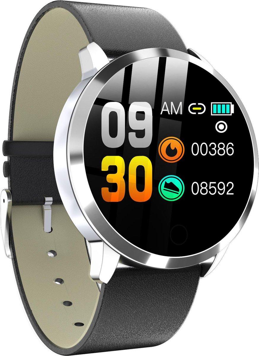 Belesy® Elite - Smartwatch dames - Smartwatch heren - Horloge - 1.02 inch - Kleurenscherm - 11x Wijzerplaat - Zilver - Leer - Gratis zonnebril cadeau