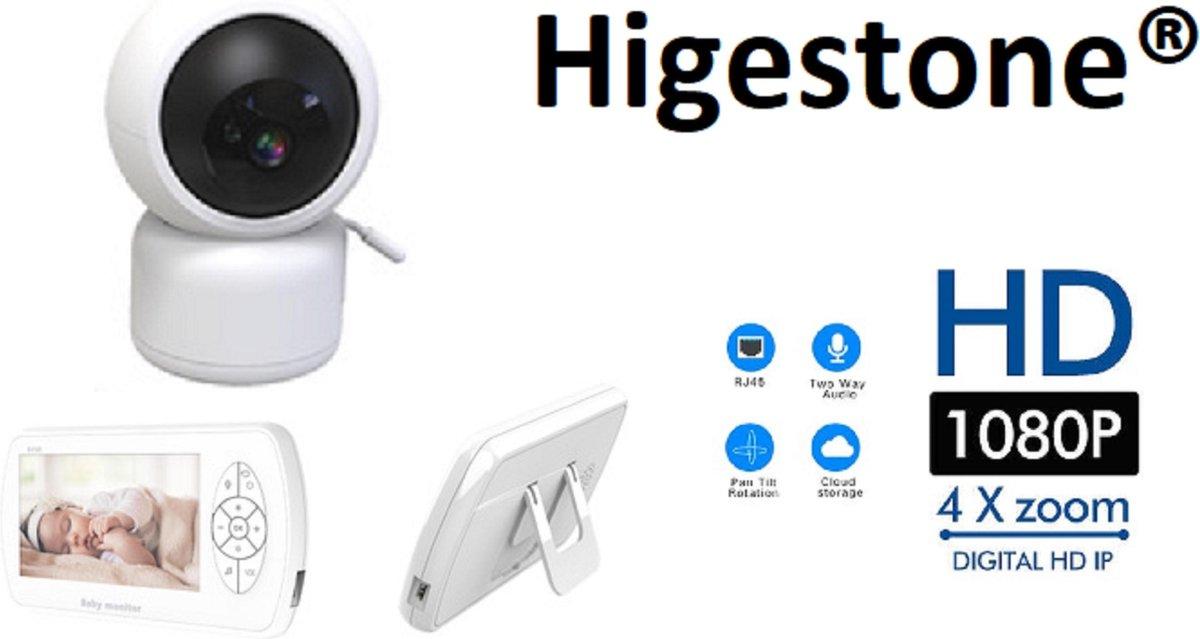 Babyfoon Met Scherm   Baby Monitor   Full HD   1080P   Met Slaapliedjes   Nachtcamera   Geen Installatie Nodig   Wit   Higestone