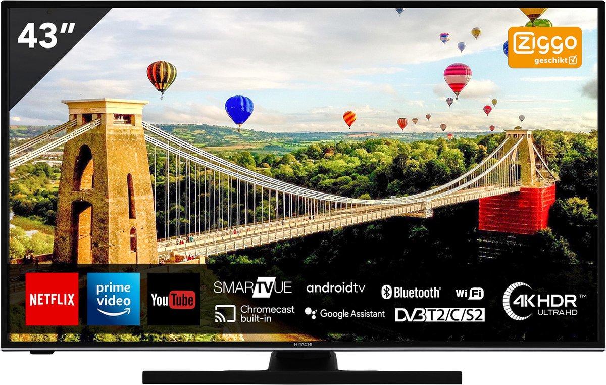 Hitachi 43HAK6150 UHD Android 43 inch Smart TV met ingebouwde Chromecast