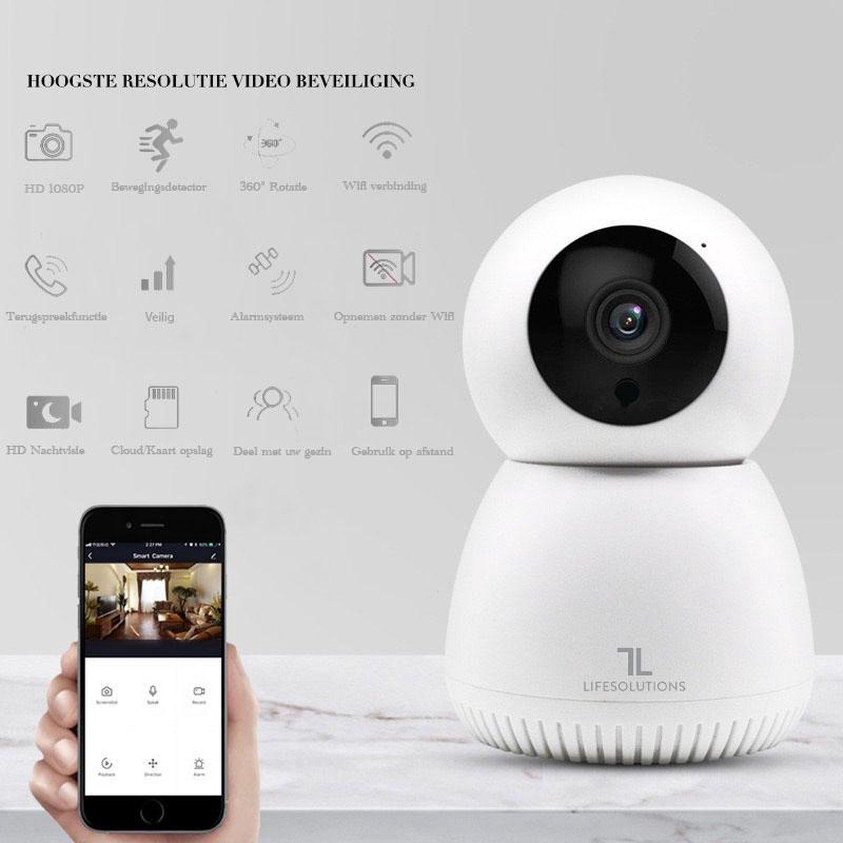 LifeSolutions - Babyfoon met camera - Baby Camera - Beveiliging - App - WiFi - Cloud - 1080P - Wit
