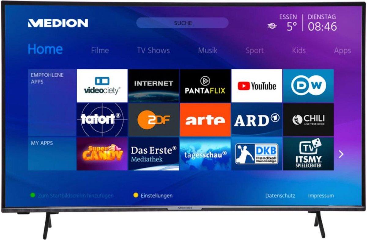 MEDION LIFE X14351 Smart-TV | 108 cm (43 inch) Ultra HD Display | HDR | Micro Dimming | PVR ready | Netflix | Amazon Prime Video | Bluetooth | HD Triple Tuner | CI+
